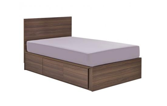 36 X 72吋深胡桃直屏屏床連三櫃桶 (單床)