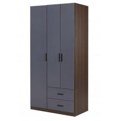 胡桃色配鐵灰色39.4吋三掩門兩櫃桶衣櫃