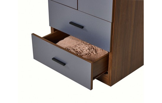 胡桃色配鐵灰色23.6吋雙掩門兩櫃桶衣櫃