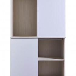 Dolce Plus 47.2寸白橡木色配白色三趟門四櫃桶衣櫃 - 一個可以鎖