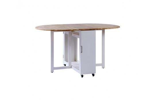 12.6/54.3寸實木開合餐桌連4椅-天然色配白色